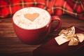 Картинка сердечко, подарок, сердце, коробочка, чашка, красная, капучино, кофе, пена