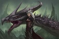 Картинка скалы, дракон, голова, арт, ведьма, Dragon Age, Flemeth, Флемет