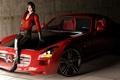 Картинка машина, девушка, SLS AMG, в красном, Mercedes Benz, Resident Evil, roadster, рендер, fan art, Ada