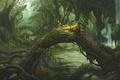Картинка драконы, чаща, арт, вода, ucchiey, kazamasa uchio, дух, лес