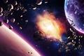 Картинка планеты, корабли, звезды, туманность, астероиды