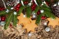 Картинка звезды, шарики, ягоды, праздник, ель, ветка, Новый Год, печенье, Рождество, Christmas, шишки, New Year