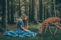 Картинка доброта, обои от lolita777, ситуация, волосы, платье, девушка, мило, лес, олененок