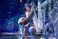 Картинка вода, брызги, звёзды, фэнтези, кристаллы, fantasy, Водолей, созвездие, дворец, stars, юноша, CG wallpapers, Зодиак, Ютака ...