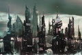 Картинка город, огни, серый, небоскребы, башни, мегаполис, Мрачный