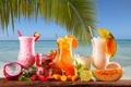 Картинка ягоды, море, цитрусы, пальма, коктейль, трубочка, мята