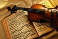 Картинка Скрипка, ноты, книга