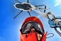 Картинка вертолёт, очки, небо, спасатель, карабин