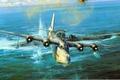 Картинка подлодка, U-461, война, атака, Sunderland, рисунок, Robert Taylor, CAUGHT ON THE SURFACE, U-boat