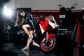 Картинка Ducati, Legs, Red, Ligth, Nice, Girl, Front, Shoes, Motocycle, Katharina, Nike
