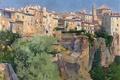 Картинка скала, картина, городской пейзаж, Aureliano de Beruete y Moret, Вид Куэнка, дома