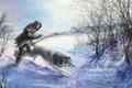 Картинка охотник, животное, зима. снег. деревья, арт, волк