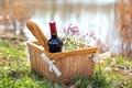 Картинка природа, вино, красное, корзина, бутылка, ромашки, пикник, багет