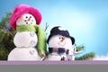 Картинка Snowmans, зима, новый год, улыбчивые, снеговики