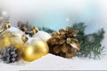 Картинка Праздник, шары, рождество, снег, зима, шишки, елка