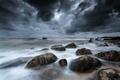 Картинка Кельтское море, тучи, хмурое небо, камни, Франция