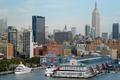 Картинка Нью-йорк, New york, city, вечер, здания, набережная, evening, USA, США