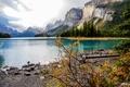 Картинка Канада, Spirit Island, Природа, Alberta, Пейзаж, Горы, Осень, Озеро, Maligne Lake