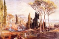 Картинка картина, горы, берег, двор, италия, деревушка, небо, кипарис