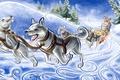 Картинка Упряжка, лайки, зима, снег