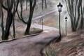 Картинка фонари, деревья, парк, дорожка