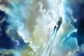 Картинка небо, облака, полет, фантастика, Enterprise, Звездный путь, Star Trek, космический корабль, Starship, Spacecraft, NCC 1701