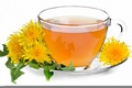 Картинка блюдце, чай, одуванчики, чашка