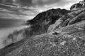Картинка черно-белая, Облака, Горы, Туман, Вирджиния, Old Rag