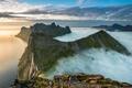 Картинка облака, скалы, небо, туман, горы, море