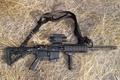 Картинка оружие, трава, ar15, ремень, gun
