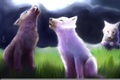Картинка волки, трава, волчата, арт