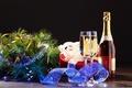 Картинка подарок, новый год, бокалы, мишура, шампанское, 2015