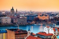 Картинка город, река, здания, дома, столица, Венгрия, Будапешт, Базилика святого Иштвана, католический собор