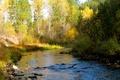 Картинка камни, осень, небо, деревья, река, лес