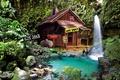 Картинка Fantasy, trees, nature, bushes, waterfall, pond, shack