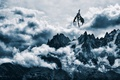 Картинка dragon, snow, снег, горы, дракон, mountains, sky, облака