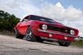 Картинка красный, red, Camaro, передняя часть, Z-28, Muscle car, камаро, шевроле, Chevrolet, небо, мускул кар, облака