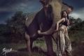 Картинка девушка, поза, слон