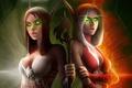 Картинка пламя, свет, WoW, эльфийки, World of Warcraft, костюмы, посох, горящие глаза
