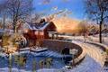 Картинка Dave Barnhouse, мост, холод, зима, опавшие листья, живопись, мельница, поздняя осень, вечер, дом, Reed's Mill, ...