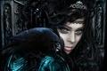 Картинка взгляд, клюв, корона, макияж, ворон, ведьма, фантастика, глаза, королева
