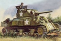 Картинка рисунок, танк, Шерман, M4 Sherman