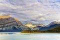 Картинка горы, деревья, озеро Кананаскис, Альберта, Geherty's point, небо, Канада, облака