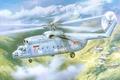 Картинка вертолёт, тяжёлый, арт, многоцелевой, Ми-6, советский, авиация