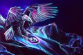 Картинка свет, крылья, горы, силуэт, птица, небо, орлан, орел