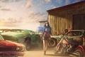 Картинка мотоцикл, art, свалка, рисунок, девушка, Chevrolet, амбар, Rust graveyard, by c85, old car