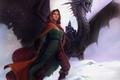Картинка Дракон, всадник, девушка, приключения, фентези