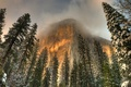 Картинка hdr, снег, зима, туман, деревья, верхушки, Йосемити, скалы, Калифорния, облака, США