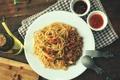 Картинка мясо, спагетти, соус, паста