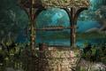 Картинка веревка, колодец, деревья, ведро, крыша, плющ, вода, река